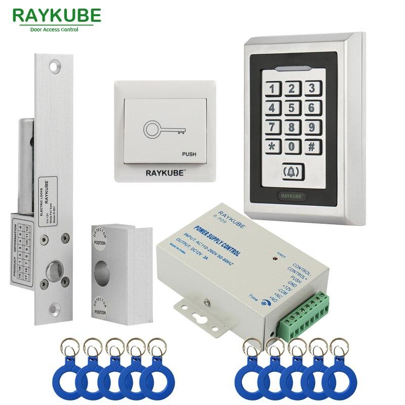 RAYKUBE Glass Door Access Control Kit Elettrico Chiavistello + Metallo RFID  Reader Tastiera Per Il Portello Di Vetro Frameless 5497d3f4ea21