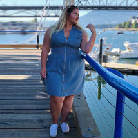 9947d1947e75f6 Fashion Plus Size Womens Summer Dresses Denim Casual Sleeveless Zip Up  Dress Mini Jeans Sexy Party