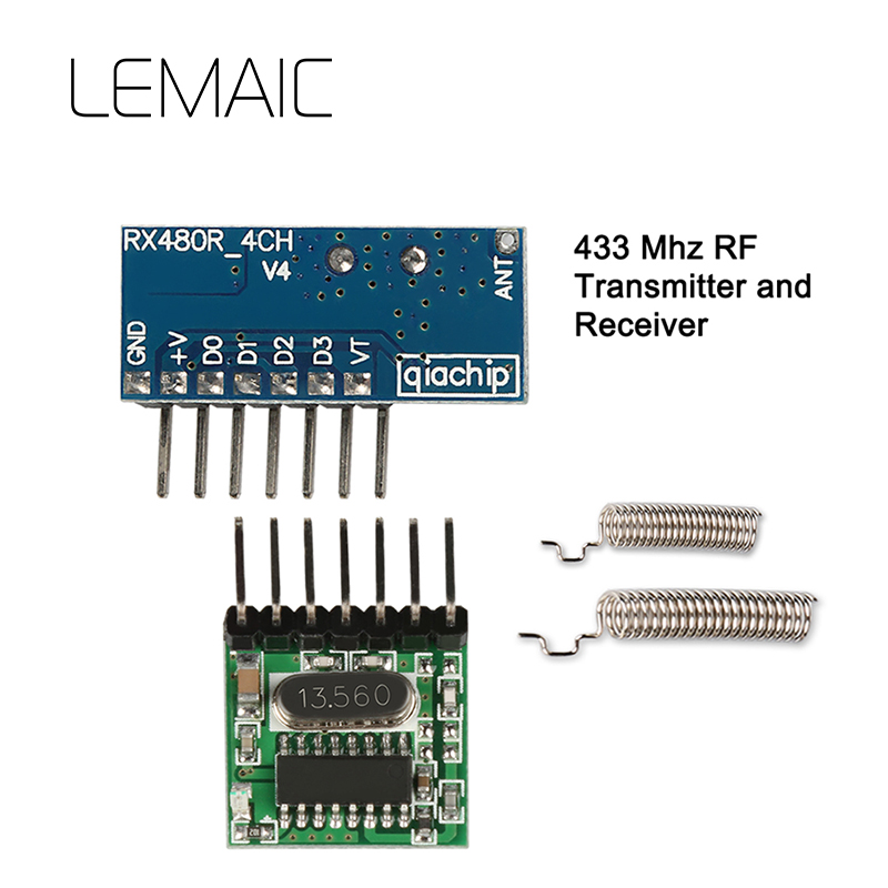 LEMAIC 433Mhz Wireless Remote Control Receiver And Transmitter EV1527 Learning Code RF Module With Antenna For Smart Home Switch