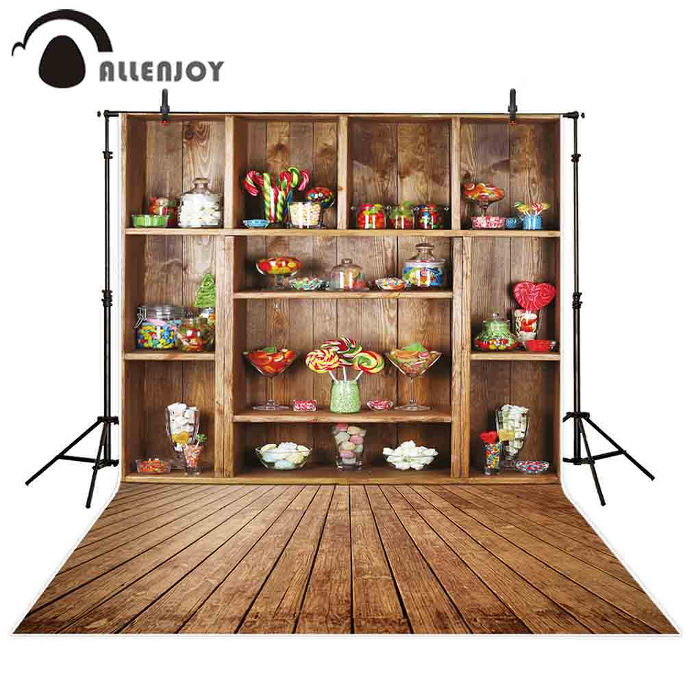 Allenjoy photography backgrounds colorful candies vintage wood shelves backdrop photo studio prop photophone photocall decor