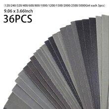 Metall 9,06x3,66 Zoll Sortiment Schleifkorn Papier Silicon Hartmetall Schleifen Papier Set 36 stücke Automotive Schleifpapier Neue Heiße