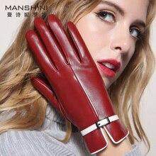 Winter genuine leather gloves cashmere thicken warm sheepskin telefingers driving touchscreen womens fashion 088