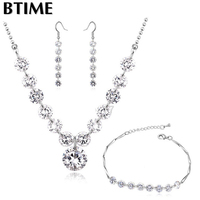 Btime Fashion 18K Gold Plated Austrian 10mm Zircon Accessories Necklace Earrings Bracelet Jewelry Set Crystals From