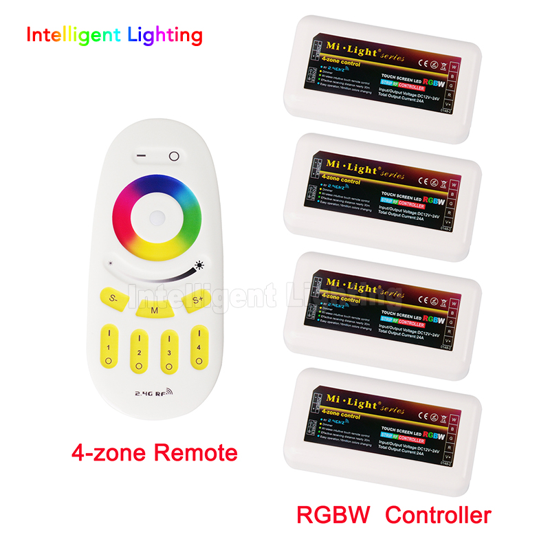 Mi Light Wireless RF Remote Control + 4 x RGBW LED Controller  2.4G  4-Zone  Groups RGBW For 5050 3528   Led Strip Light milight remote wifi 4x rgbw led controller group control 2 4g 4 zone wireless rf touch for 5050 3528 rgbw led strip light