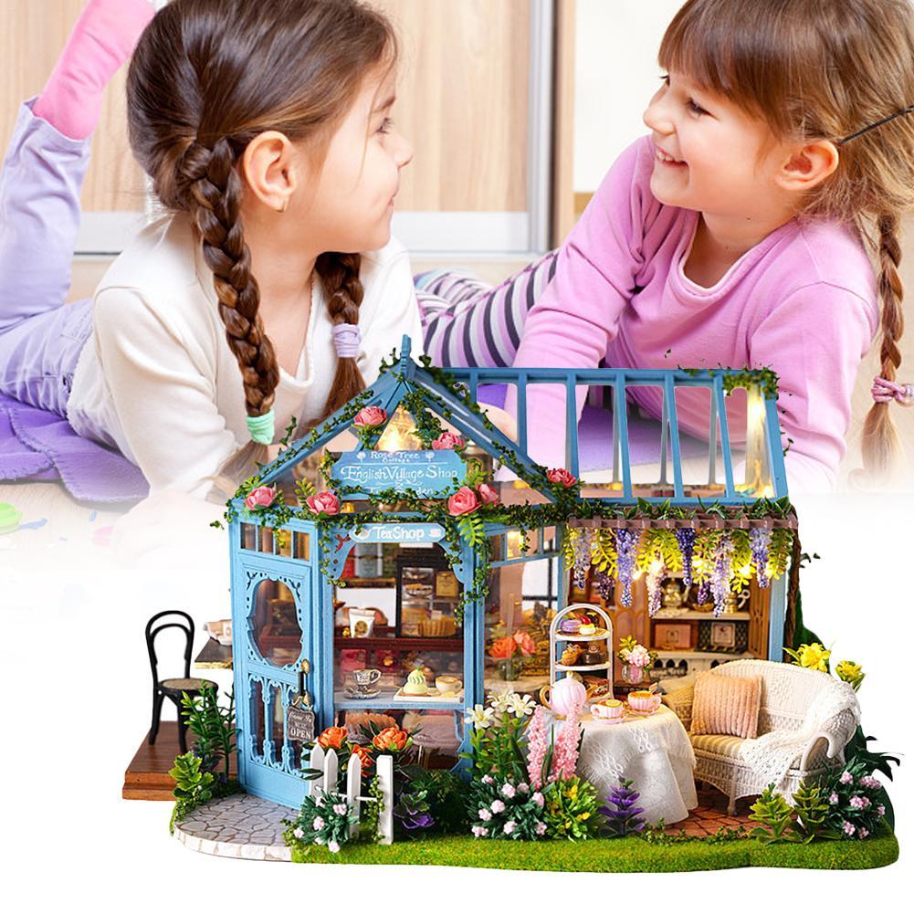 2019 bricolage cabine Rose jardin maison de thé à la main modèle Architectural en bois Villa innovante filles jouets