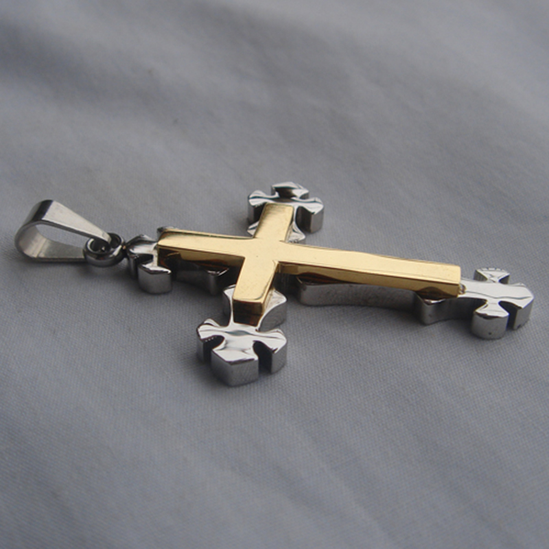 Cool Мужчины Мальчик 2 тона позолота Крест CZ 316L нержавеющая сталь ожерелья и кулоны Бесплатная доставка Мужчины ювелирные изделия