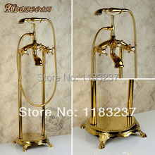 Free Shipping Gold plated ikbal bathtub floor faucet american fashion antique titanium shower floor stand faucets