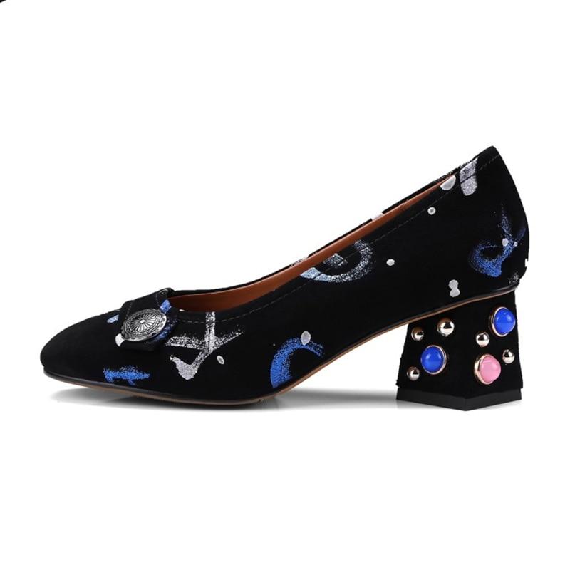 Black Cuir Stylesowner 1 Style Imprimé 2018 Perle Pompes Fleur gêne Coloré Talons black Femmes Confortable Chaussures Sans 2 Rétro Véritable Nouveau YqTrUY