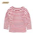 2016 Primavera Ropa Infantil Chicos Camisetas de manga larga Rojo Blanco Rayado Remiendo Muchacho de la Camiseta Que Basa la camiseta Tops Niños ropa