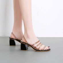 7cm Chunky Square Heels Woman Sandals 2019 Summer PVC Transparent Shoes Sexy Ladies Comfortable Low Heel