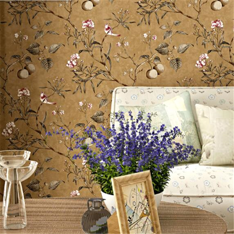 Купить beibehang American country wallpaper retro nostalgia living room bedroom TV background flowers and birds garden style wall paper в Москве и СПБ с доставкой недорого