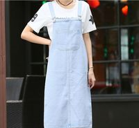 Free Shipping Women Summer Style Casual Straight Denim Skirt Overalls Bib Blue Suspender Skirt G041101