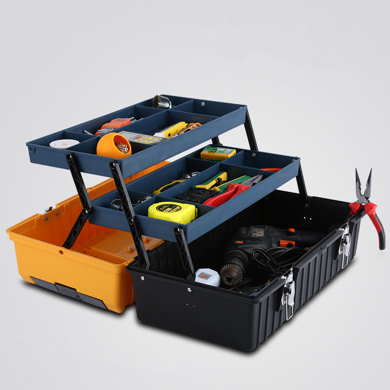 17 Inch Plastic Tool Box With Handle Tray Compartment Storage Box Hammer Pliers Screwdriver Tool Holder Container Case