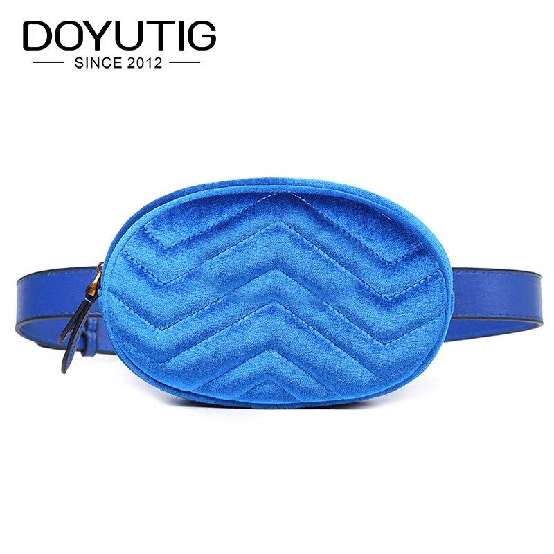 DOYUTIG European Design Women Velvet Belt Bags Young Lady Lovely Mini Size Waist Packs Luxury Famale Fashion Casual F618