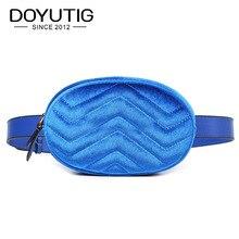 Купить с кэшбэком DOYUTIG European Design Women Velvet Belt Bags Young Lady Lovely Mini Size Waist Packs Luxury Famale Fashion Casual Bags F618