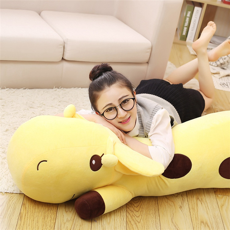 Hot 1pc 40cm-90Cm Plush Lie Giraffe Pillow Staffed Deer Plush Toy Nap Pillow Baby Toy Christmas Gift High Quality 5 Colors