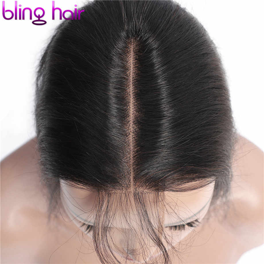 Bling Hair 2*6 Brazilian Straight Hair Closure with Baby Hair Middle Part Remy Human Hair Closure Swiss Lace Natural Color 8-22""
