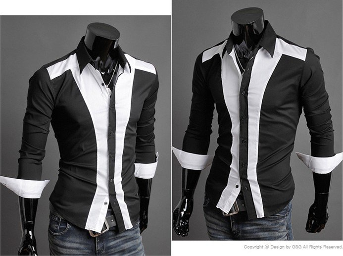 0b8da842086 Free shipping Wholesale Mens Casual Spread Collar Button Down Black   White  Classic Blend Color Short Shirt 102-in Casual Shirts from Men s Clothing on  ...