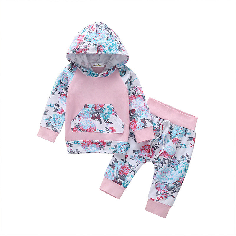 Printed Hooded Full Flower Jacket + Printed Pants Suit New Cotton Floral Girl Set Children's Cute Color Pants Two piece Hot Sell