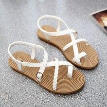 Yu Kube Summer Shoes Woman Sandals Elastic Flat Sandalias Mujer 2020 Strappy Gladiator Beach Sandals Ladies Flip Flops White