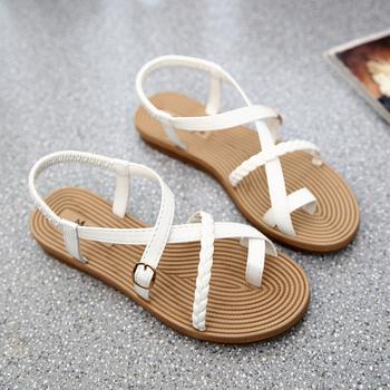 Yu Kube letnie buty sandały damskie elastyczne płaskie Sandalias Mujer 2020 Strappy Gladiator plażowe sandały klapki damskie białe tanie i dobre opinie Mieszkanie z Otwarta RUBBER Mieszkanie (≤1cm) Na co dzień Gumką Pasuje prawda na wymiar weź swój normalny rozmiar
