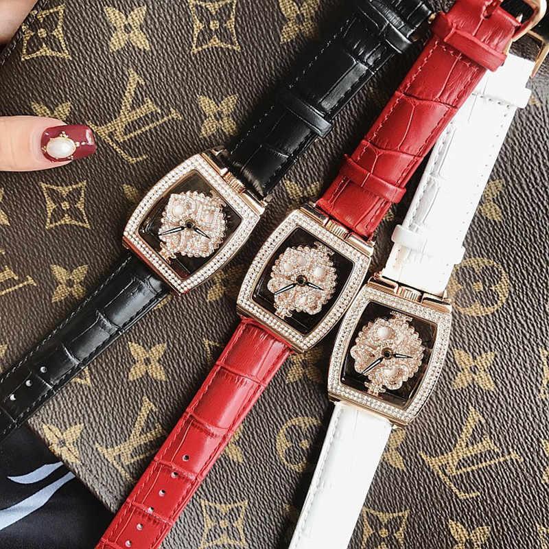 Las mujeres relojes de cuarzo de oro vestido de rotación relojes checo de barril Casual damas reloj montre femme relojes para mujer