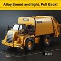 Sonido y la Versión Ligera De Basura Camión de juguete Modelos de Coche de Juguete de Vehículos de Manejo De Materiales de Aleación de Camiones de Saneamiento Limpio