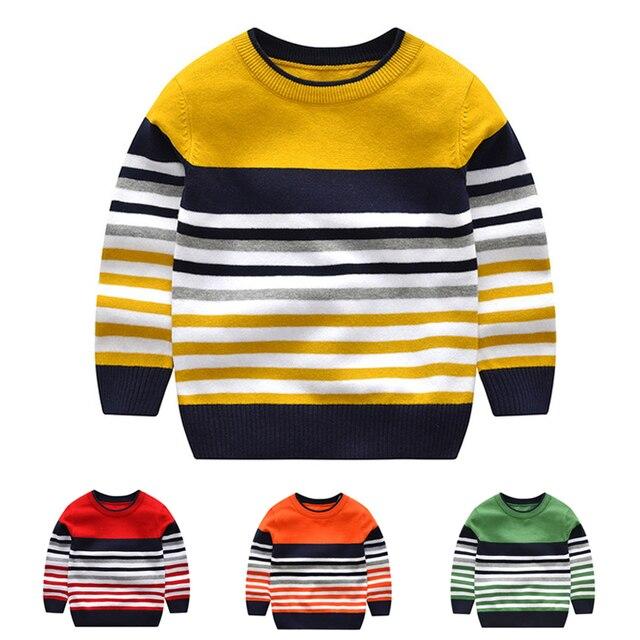 2 7Y תינוק ילד ילדה סוודר בני סוודרים 2020 אביב סתיו ילדים סוודרים לילדים סוודר סרוג פסים למעלה ילד בגדים