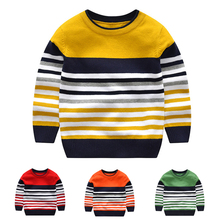 2 7Y baby boy girl sweater boys sweaters 2020 spring autumn kids sweaters children striped pullover knitted top kid clothes
