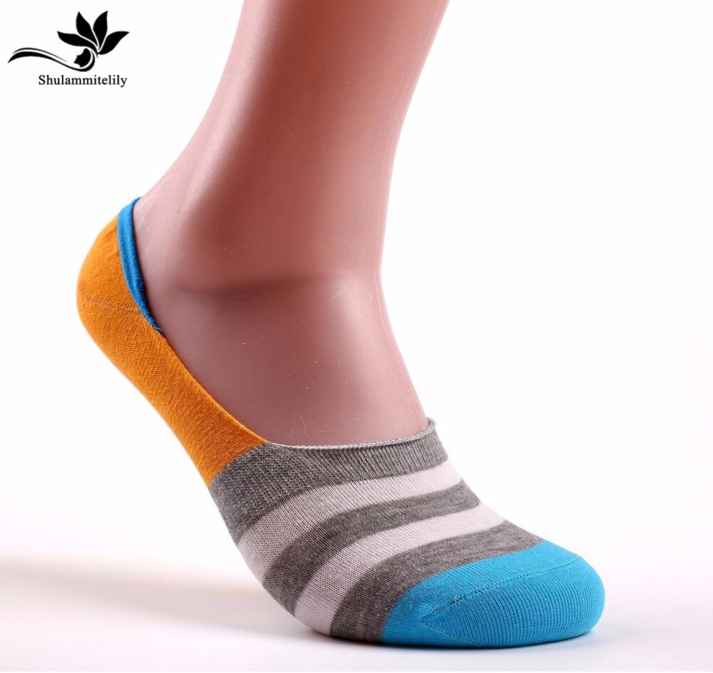 hot sale 7 pairs/lot men's invisible cotton   Socks   stripe boat anti slip high qualtiy summer slipper ankle   socks   no show   socks