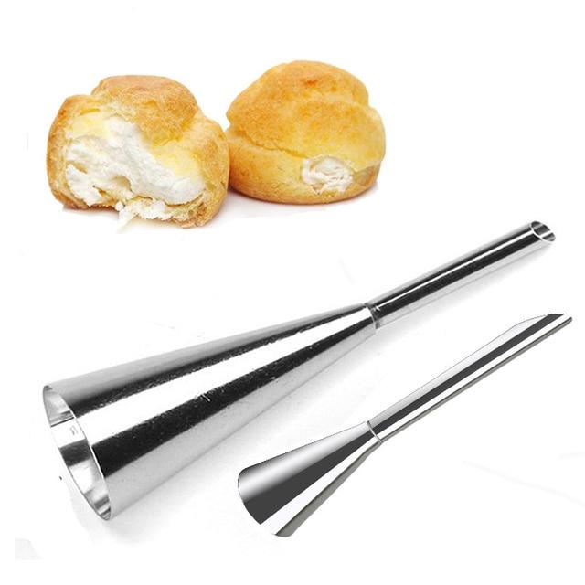 2 Pcs Sopro de Tubulação Dicas Pastelaria Bolo de Creme Confeiteiro Bico Puffs Bolo Cupcake Ferramenta De Injeção de Aço Inoxidável Bicos de Decoração Do Bolo