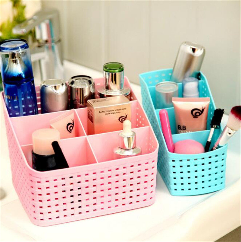 Storage Box Multi-grid Plastic Box Creative Desktop Cosmetic Case Remote Control Holder Small Objects Container Makeup Organizer