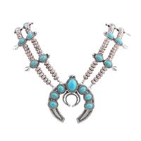 Manufacturers Selling New European Style Fashion Turquoise Necklace Antique Silver Plated Necklace Long Do Not Fade