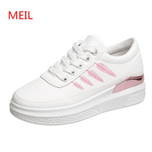 Platform sneakers women casual shoes PU leather fashion ladies White shoes woman sneaker female shoes tenis chaussures femme все цены