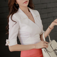 Fashion Women Sexy V Neck Shirt Blouse Half Sleeve New brand summer style OL work wear lady tops