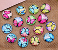 30X  sets 12mm Butterfly pattern Round  Handmade Photo Glass Cabochons & Glass Dome Cover Pendant Cameo Settings