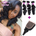 Brazilian Virgin Hair Loose Wave 3 Bundles With Closure Brazilian Curly Hair With Closure Cheap 100 Human Hair Weave And Closure