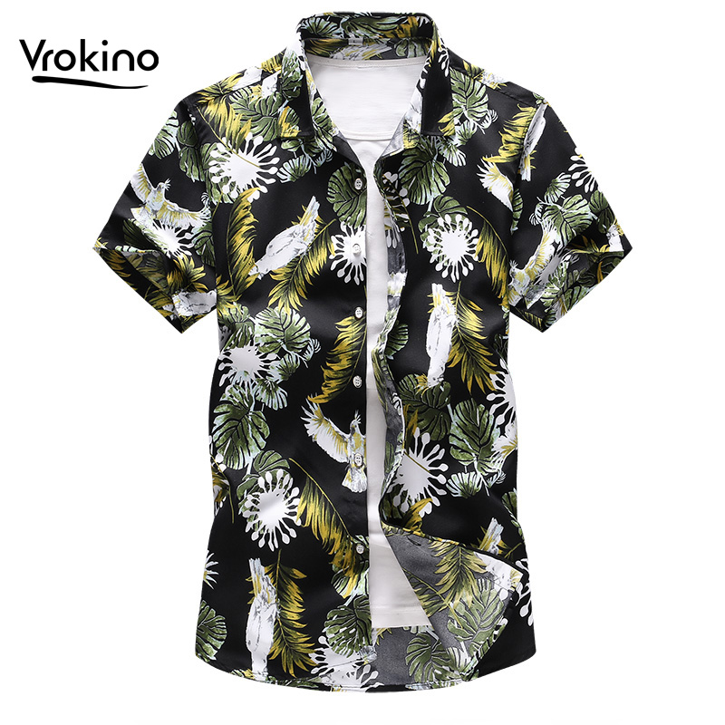 2019 Summer New Style 5XL 6XL 7XL Men's Casual Hawaiian Flower Shirt Stylish High Quality Printed Short Sleeve Shirt Large Size