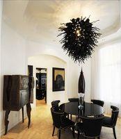 Candelabro de cristal soplado decorativo de Arte de sala de estar de luz negro moderno