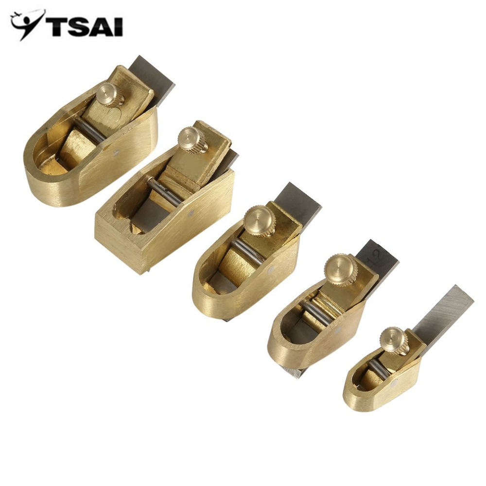 Фотография TSAI 5PCS Various Size Mini Brass Planes Making Tools Copper Metal Plane Cutter Set for Violin Viola Cello Instrument