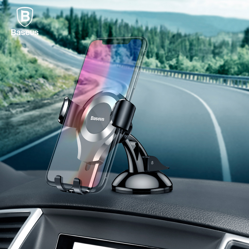 Baseus Car Phone Holder For iPhone X Samsung Galaxy S9 Plus Automatic Car Mount Holder Stand Sucker Mobile Phone Holder Support
