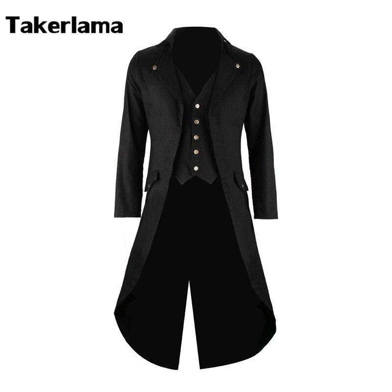 Mens Gothic Tailcoat Jacket Steampunk Trench Cosplay Costume Victorian Coat Black Long Coat Men s Tuxedo