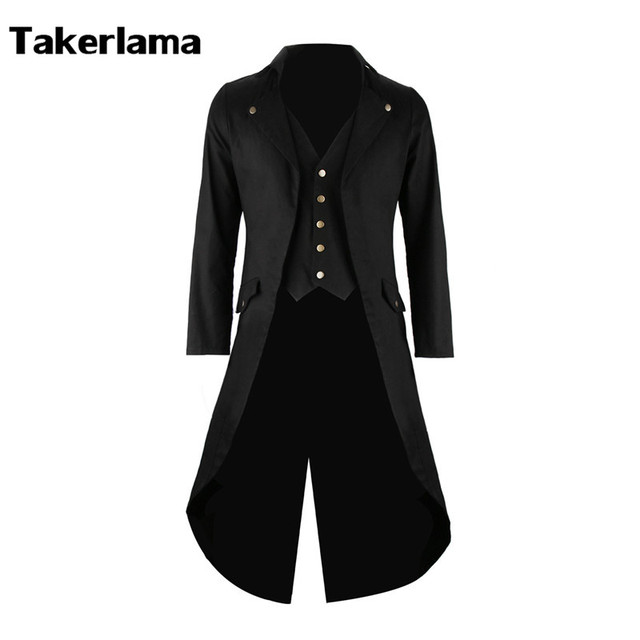 Mens Gothic Tailcoat Jacket Steampunk Trench Cosplay Costume Victorian Coat Black Long Coat Men's Tuxedo Suit Halloween Party