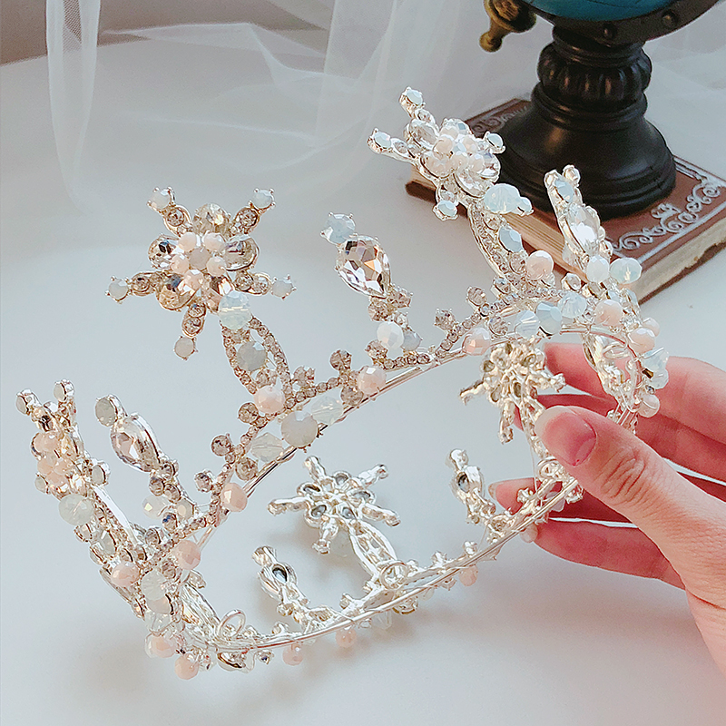 Handmade Beaded Crystal Pearl Crown Top Grade Round Bridal Silver Headwear Queen Tiaras Wedding Accessories Elegant Jewelry Gift new hot pink freshwater pearl crystal handmade clear rhinestone beaded wedding accessories hair crown tiaras golden jewelry