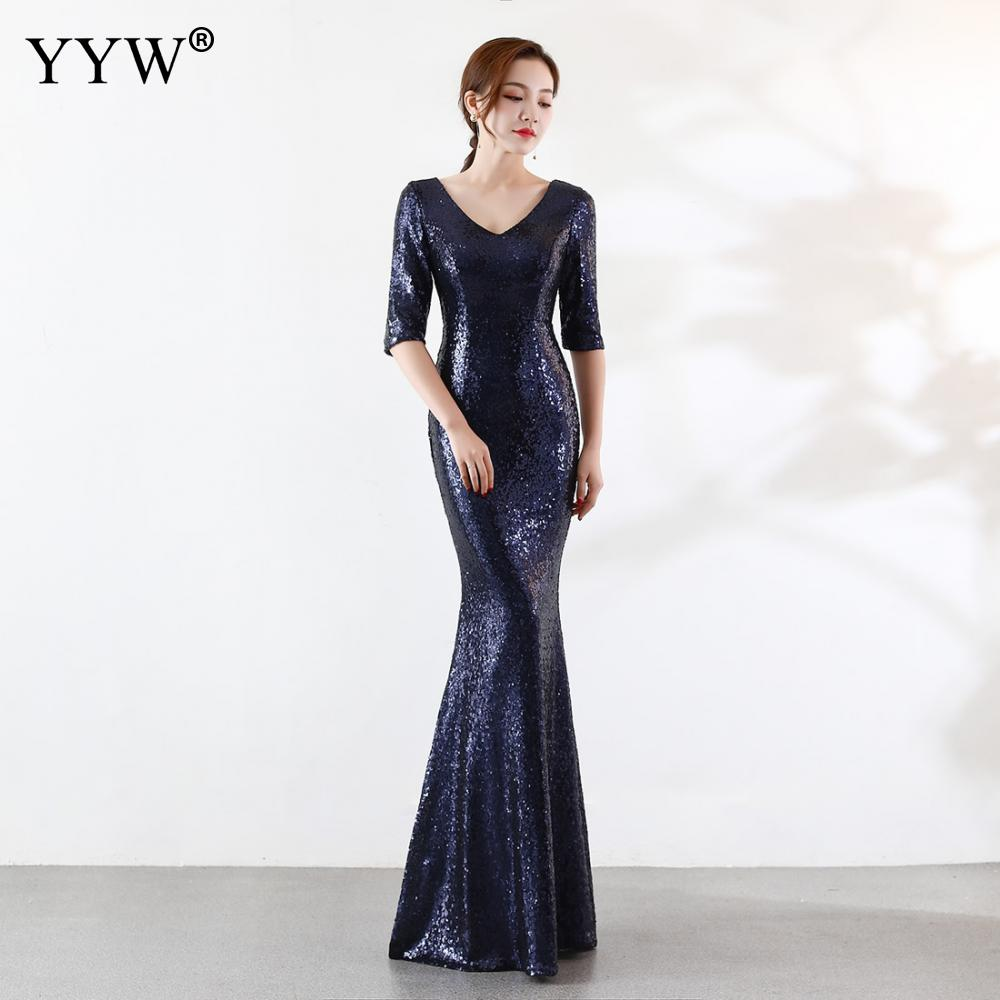 Luxury Gold Sliver Sequined Long Party   Dress   Women V Neck Backless Mermaid   Evening     Dress   Half Sleeve Bodycon Sexy Nightclub Wear