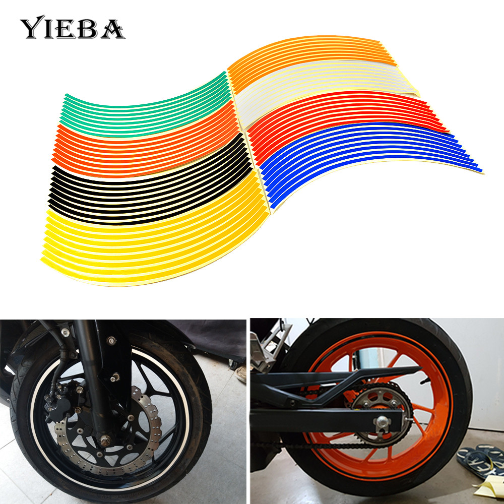 Detail feedback questions about hot 17 18 motorcycle wheel rings sticker reflective stickers rim strip bike car styling for yamaha honda suzuki kawasaki bmw
