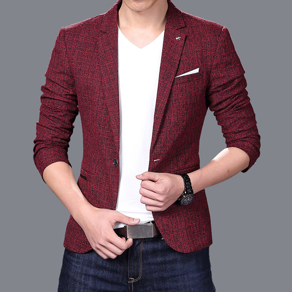 Suit Blazer Pockets Business Long-Sleeve Slim Male Formal Casual Fashion Lapel One-Button