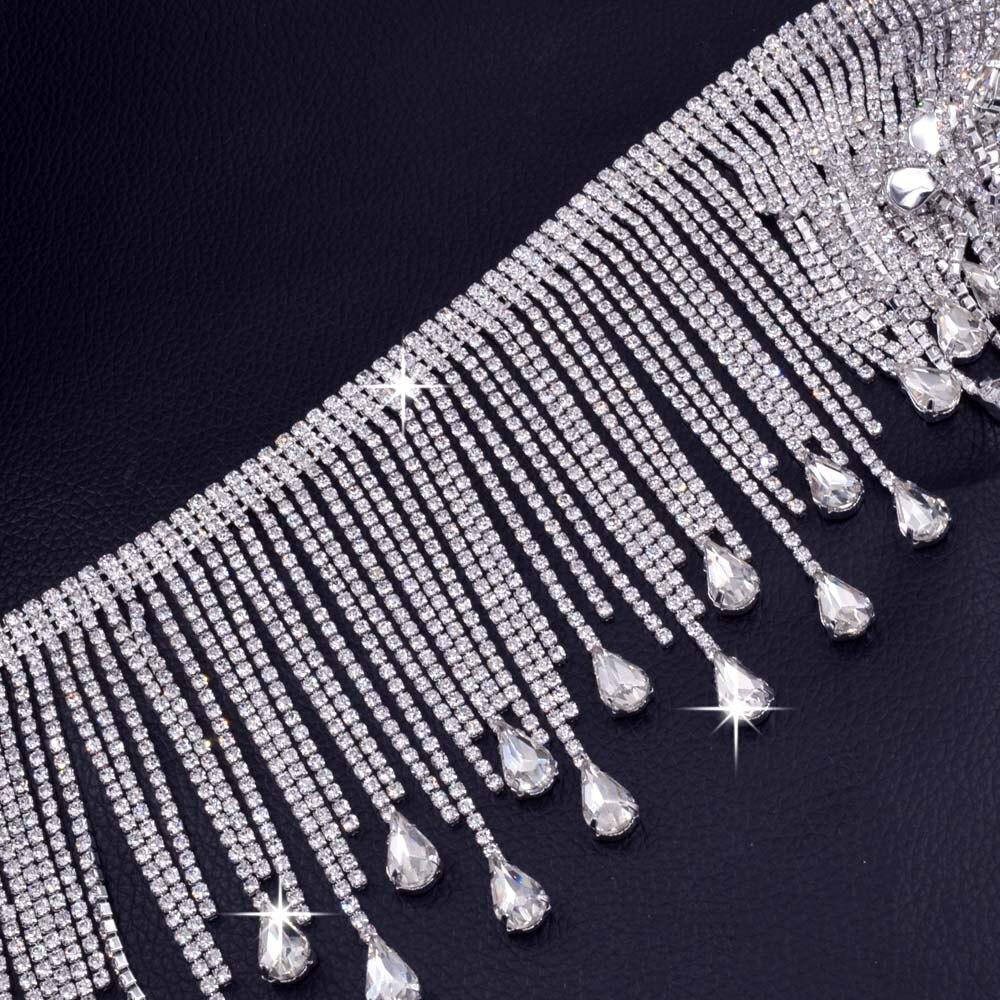 Top-Grade Kristall AB Strass Tasse Kette Waterdrop form Quaste Silber Basis Strass Trim AB Nähen auf Strass DIY