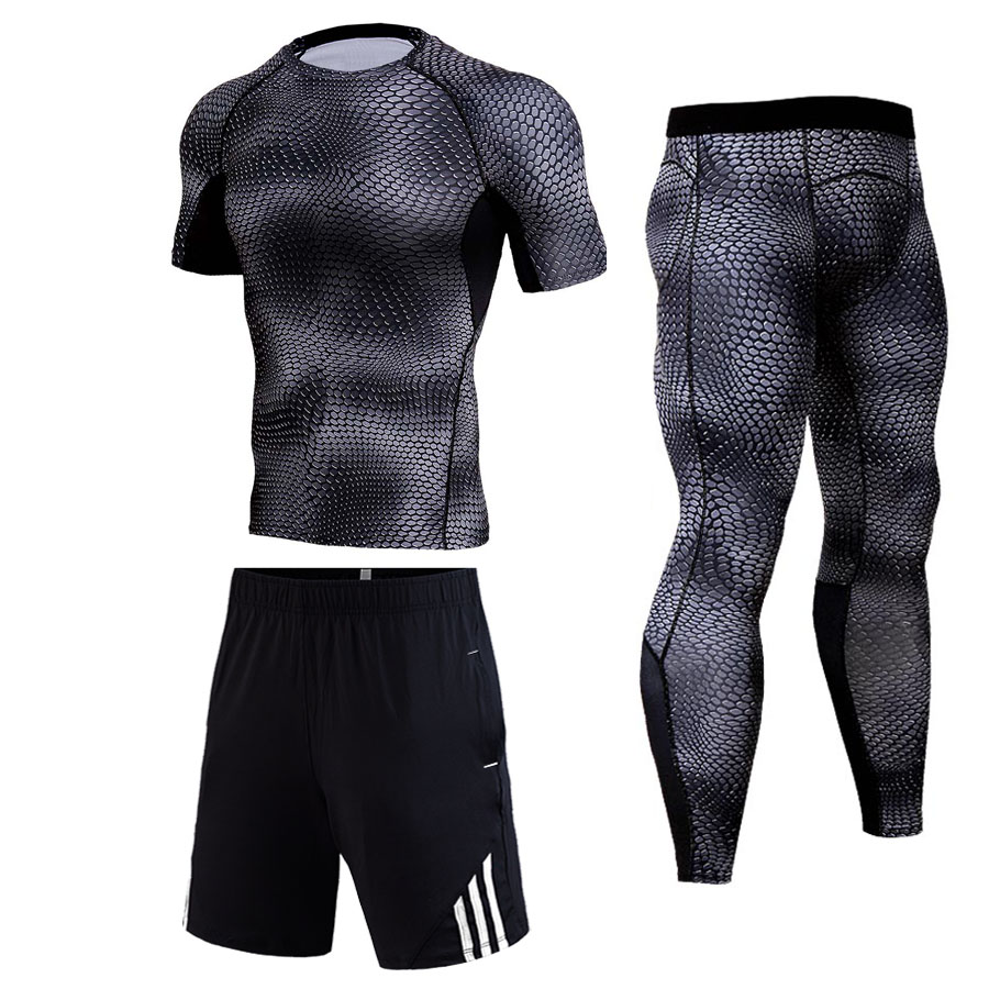 Men's Suit 3D Snakeskin Compression Suit Jogging Clothes Men Short-sleeved T-shirt Shorts Leggings Track Suit Dry Fit T Shirt