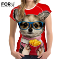 FORUDESIGNS Women T Shirt 3D English Bulldog Prints Summer T-shirt Novelty Women's Short Sleeve Tee Tops Pug Bad Dog Cat TShirts